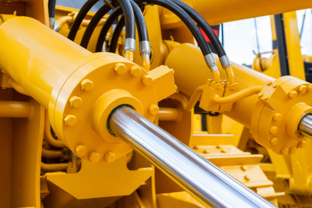 Powerful hydraulic cylinders. The main power and driving element for construction equipment.